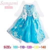 5pcs Children girl's 2014 summer Long sleeve frozen ELSA princess dress sky blue color with snow flower 15424