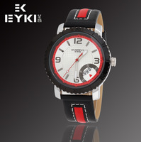 EYKI OVERFLY Brand Men's Military Watches,Men's Leather Strap Sports Watches Auto Date,12-month Guarantee