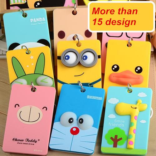 PVC card holder Credit Card Bus card case 2014 New Cartoon Panda Duck monster design Key holder ring Bag accessories 5503(China (Mainland))