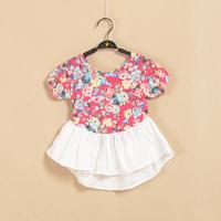 Cute Children T-shirt Flower Print Summer Baby Clothing Short Sleeve Butterfly Hem Girl Casual Top Tees