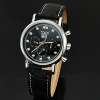 Black Dial Fashion Date Day Moon Phase Automatic Self-Wind Mechanical Wrist Watch Wholesale Price A512