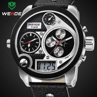 2014 New WEIDE 2305 Oversized men watch 30 ATM analog sports watch genuine leather Miyota 2035 quartz watch1 year guarantee