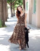 2014 free shipping european women casual dress one-piece v-neck long leopard printing chiffon dress