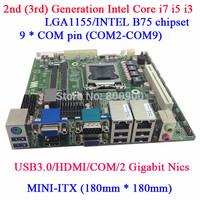 digital signage mini itx motherboard with PCI MINI ITX B75M Dual LAN 9COM 18*18 size motherboard Intel Core i7 i5 i3 in LGA1155
