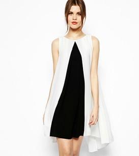 Mulheres de Lady sexy mini- preto branco correspondência de cores sem mangas irregular cheio partido clube casuais mais vestido tamanho 2014 de Moda de Nova(China (Mainland))