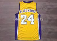 Los Angeles #24 Kobe Bryant Basketball Jersey, Cheap Nickname Throwback Jersey Black MAMBA Basketball Shirt Yellow