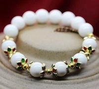 Min order $15 new fashion 1 laps 10mm white beaded bracelet for women and girls  best selling for gift