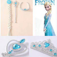 Momo - Retail New Frozen Party Ornaments,Frozen Magic Wand + Rhinestone Crown + HairBand + Hairpiece Girls Wig , 7-20 come out