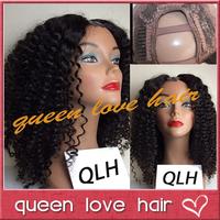 Cheap!100% brazilian virgin human hair kinky curly u part wigs for sale 150 density middle part kinky curly wig for black women