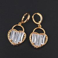 2014 Lovely Heart Shape Dangle Earrings with 18K Gold Plated for Girls ER0200