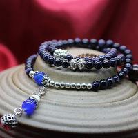 Min order $15 new fashion 3 laps 6mm  blue beaded stone bracelet for women and girls  best selling for gift