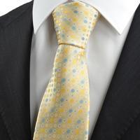 Free shipping High Quality New Yellow Blue Polka Dot Circle Pattern JACQUARD WOVEN Men's Tie Necktie