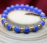 Min order $15 new fashion 1 laps 8mm blue beaded bracelet for women and girls  best selling for gift