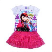 Wholesale Girls Frozen Clothing Set Girl Set 2014 Fashion Frozen T shirt + Tutu Skirt Girl Yarn Skirt Children Summer Set
