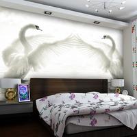 3D stereoscopic large mural bedroom living room TV wall backdrop Swan Lake wallpaper, woven 3d mural