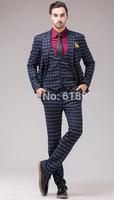 2014 new custom made plaid tuxedo suits for men wedding suits groom prom dress formal jacket blazer+waistcoat+pants size S-XXXL