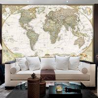 Global world map background wallpaper the living room TV bedroom hotel woven wallpaper murals