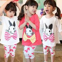 2014 New Summer Children Clothing Girl Kids Fashion T shirt Rabbit Pattern With Bow Short Sleeve Long T shirt for Girl 2-10T