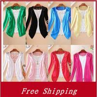 Sweaters 2014 women Fashion Slim Candy Crochet  cardigan women Knit Top Thin Blouse Free Size summer Lace Cardigan Sweater Coat