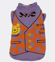 New Purple Bear Printing Style Simple  Pet Dogs Winter Vest Coat  Free Ship 2014 new clothing for dog