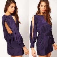 women dress summer noble blue satin fabric long-sleeve  lacing the waist women's dresses