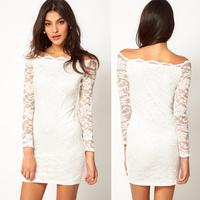 women white dresses lace long-sleeve autumn and winter dress slit neckline strapless lace white dresses