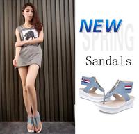 2014 New Arrival comfortable Roman 3cm Phatform Zip Denim womens Sandals Female casual summer Flat shoes Drop shipping
