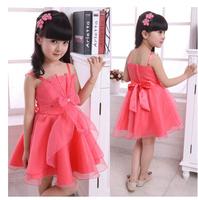 Summer sleeveless performance  princess girl prettty lace shoulder-straps slip dress