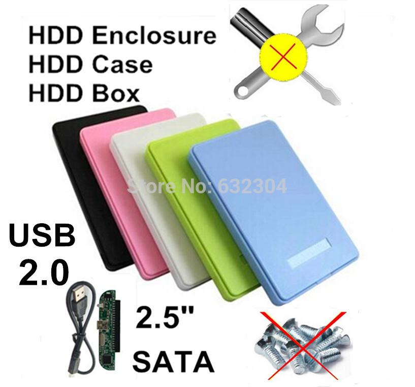 """Freeshipping 2.5"""" SATA USB 2.0 HDD Enclosure Case Hard Drive SATA External Box Support 1TB Hard Disk Wholesale Dropshipping(China (Mainland))"""