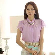 Free Shipping New Fashion Elegant Women Petal Short Sleeve Chiffon Blouses 2014 Summer Office Shirt Purple/Blue/White S-XL Cloth(China (Mainland))
