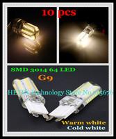 Free shipping 10 pcs Silicone G9 220V 6W SMD 3014 64 LED Crystal Corn LED lamp Droplight Chandelier candle bulb light spotlight