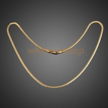 BS#S Fashion Simple Design Gold Plated Flat Curb Chain Necklace for Men Women