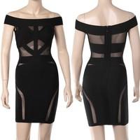 Wholesale Bodycon Dress! European-US Sexy Party Bandage Black Voile Dress