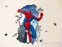 3D Effect Scene Spiderman Wall Art Stickers Decal for Home Decor Decoration TM8003