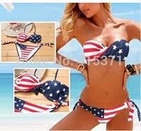New Arrival Print American Flag Sexy Bikini Set In Summer On Beach New Stylish Push Up Swimwear For Women