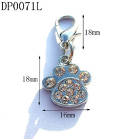 18mm Fashion Rhinestone Silver Tone Alloy Dogs Foot Charms,DIY Pets Charms,DIY Dogs Collars Charms,Free Shipping 50pcs/lot