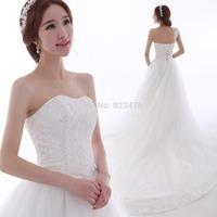 2014 New Strapless Lace minimalist  wedding dress  Custom Size package hip  a long tail wedding dress 2014