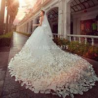 2014 new wedding dress handmade flower petals large tail wedding dress empire sweetheart off the shoulder wedding dress 2014