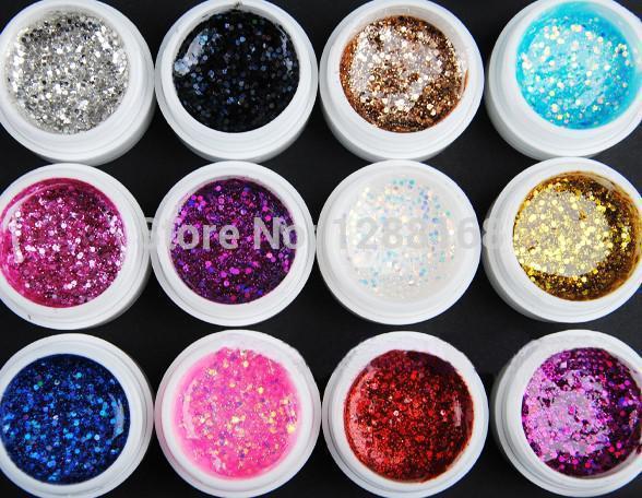 Glitter UV Gel 12 Mix Colors Builder False Tips Acrylic Nail Art Polish Kit Set Phototherapy gel nail UV Adhesive(China (Mainland))