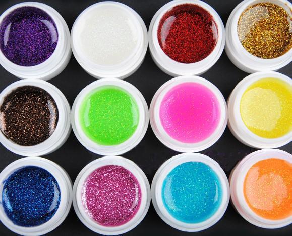 Glitter UV Gel 12 Mix Colors Builder False Tips Acrylic Nail Art Polish Kit Set Color phototherapy glue(China (Mainland))