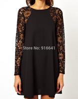 2014 Spring/Summer Brand Sexy Party Evening Fashion Women Clothing Black Long Sleeve Lace Geometric Print Dress XXL