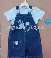2 pcs set Baby tops t-shirts denim Children's Suspender Thouser overalls 12sets/lot#3687
