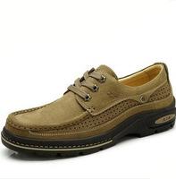 2014 Men's Shoe Genuine Leather CAMEL Shoes Men Casual Shoe Outdoor Hiking Shoes CAMEL ACTIVE Breathable Leather Men's Flats