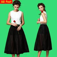 2014 Summer Women 2 Pieces Sets Cotton Trim Vest Tank Top Vintage Long Skater Skirt Organza Midi Pleated Skirt Clothing Set