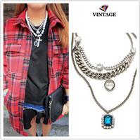 New 2014 hot sale vintage bijoux rhinestone pearl Love pendants brand multi layer retro silver chain necklaces for women