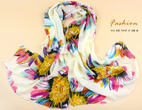 New Design Quality Silk Chiffon Scarf Scarves Many Color Flowers Large Long Size Wrap