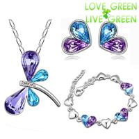 2014 wedding Wholesale 18K Platinum Austrian Crystal dragonfly design Pendant necklace earrings bracelet  Jewelry Sets 80130