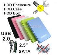 """Freeshipping 2.5"""" SATA USB 2.0 HDD Enclosure Case Hard Drive SATA External Box Support 1TB Hard Disk Wholesale 5pcs/lot"""