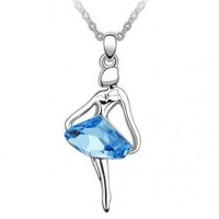 (Minimum order $ 15) Free Shipping Hotselling  Austrian Crystal Ballet dancing Girl Pendant Necklace fashion crystal Jewelry