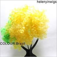 Brazil Afro Clown Costume Football Fan Fancy festival wig Halloween Party Wig wild-curl up